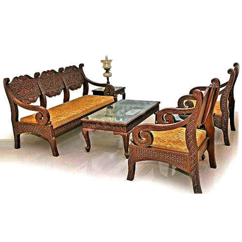 Cane Sofa Set Price In Delhi: Designer Wooden Sofa Set, Lakdi Ka Sofa Set, वुडन सोफा सेट