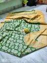 Block Printed Tussar Gicha Silk Sarees