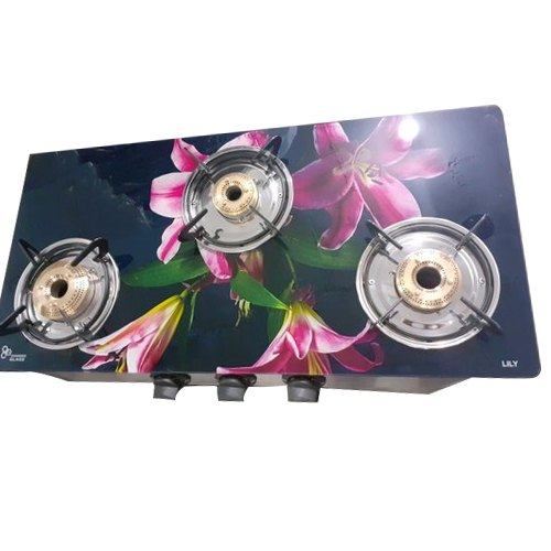 Printed Three Burner Glass Top Gas Stove for Kitchen