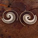 Classical Traditional Gold Plated Spiral Women Earrings