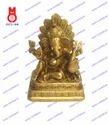 Lord Ganesh Sitting W/Peacock Statue