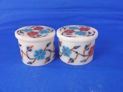 Decorative White Stone Pill Boxes