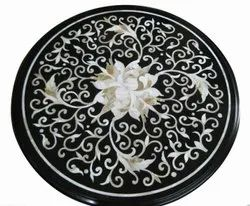 Round Marble Inlay Work Table Top