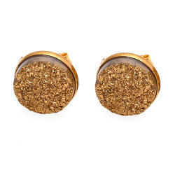 Hot Style Round Natural Druzy Earring Stud In Various Colors For Womens Modern Genration