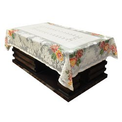 White Rectangular 60X90inch Polyester Embroidered Table Cover