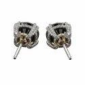 Round Designer Black Diamond Stud Earrings With 14k White Gold For Women
