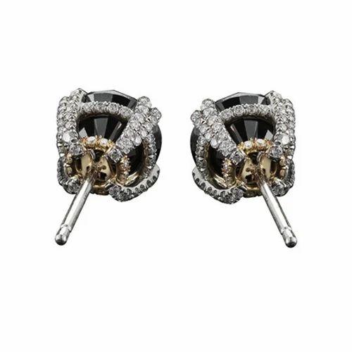 Designer Black Diamond Stud Earrings With 14k White Gold For Women S