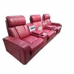 Astha Furniture Wooden Designer Maroon 3 Seater Recliner Sofa, Size: Length 9 Feet