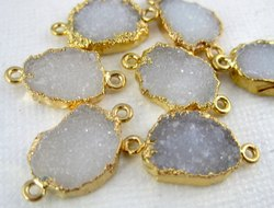 White Sugar Druzy Gemstone Gold Electroplated Double Bail Connector Making Jewelry