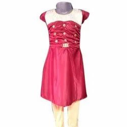 Cotton Pink Kids Long Frock With Pajama