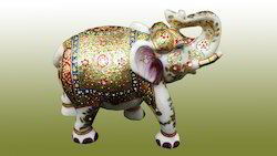 Gold Painted Marble Elephant