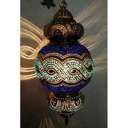 Hanging Brass Mosaic Lamp