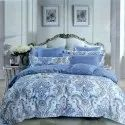 Sig. Trump Blue Digital Printed Double Bed Sheet