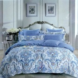Blue Digital Printed Double Bed Sheet