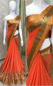 Georgette With Heavy Border Orange Saree