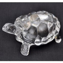Kesar Zems Glass Tortoise Figurine (8 cm x 5.5 cm x 4 cm, Clear)