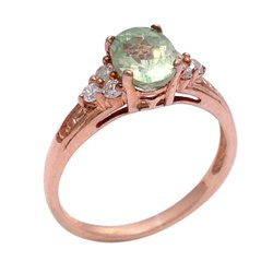 Peridot Diamond Ring in Silver