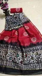 Mansi Printers Unstitched Bagru Ikkat Print Chanderi Suit with Dupatta, Dry clean