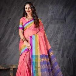 Peach Banarasi Silk Party Wear Saree