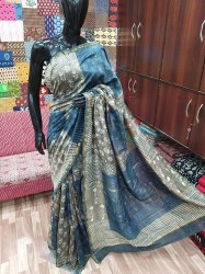 Bagru Printed Chanderi Silk Saree