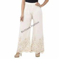 Ladies Cotton Zari Chikan Plazzo