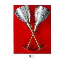 Silver Plated Brass Wine Glass Set