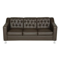 Modern Coffee Brown Three Seater Leather Sofa, Living Room, 4-5 Inch