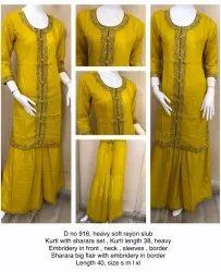 Mustard Party Wear Kurti with Sharara Set