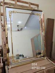 AQUA STONE Golden DECORATIVE MIRROR GLASS, For Home, Size: 18*24 & 24*32
