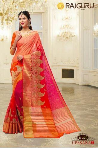 2a1ca06073 Orange Color Rajguru Embroidery Saree at Rs 2050 /piece   Designer ...