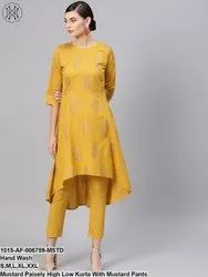 Mustard Paisely High Low Kurta With Mustard Pants