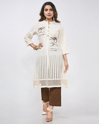 Cotton Kora Straight Cut Machine Embroidery Kurti