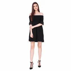 Crepe Black Plain One Piece Short Dress