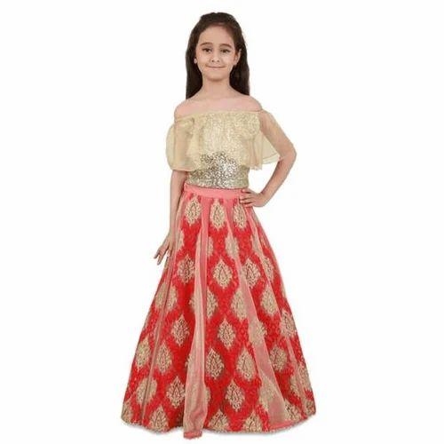 8e87e864832ec Beige  Red Georgette Girls Designer Off Shoulder Lehenga