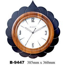 Analog WOOD & GLASS B 9447 Designer Wall Clock, Size: 385 X 360 Mm