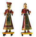 Vintage Style Wooden Painted Rajasthani Culture Gangour Pair Figure (mh006)