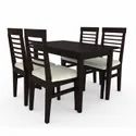 Aditya Furniture Brown, White 4 Seater Wooden Dining Table, For Home