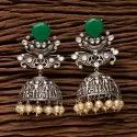 Brass Round Designer Jhumki Earring With Oxidised Plated 203474