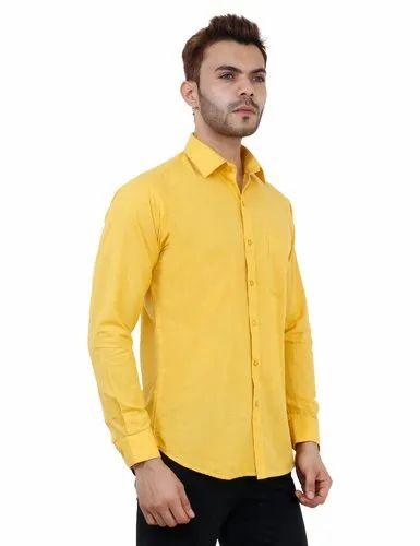 ac284f704fd294 Studio-ANF Formal Wear Mustard Colour Formal Mens Shirt