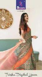 Shangrila Trisha Digital Linen Jacquard Silk Saree Catalog Collection at Textile Mall