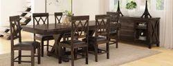 Walnut Full Farmhouse Solid Wood 8 Piece Extension Dining Room Set