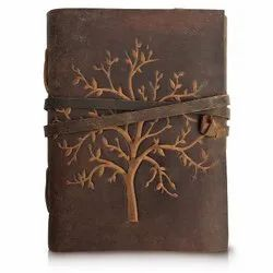 Embossed Tree Tan Buff Leather Dairy, For Office, Size: 7*5 Inch