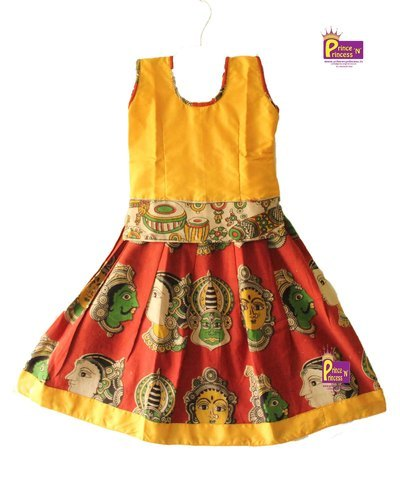0cf620d129 Lakshana Cotton Kids Yellow Kalamkari Pattu Pavadai, Rs 650 /piece ...
