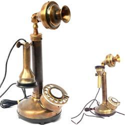 Vintage Antique Candle Brass Finish Table Decorative Telephone