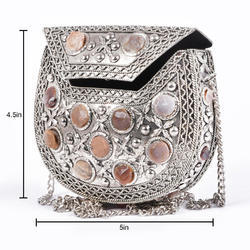 Metal Stone Work Clutch