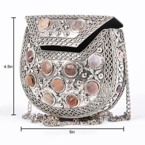 German Silver Handicrafts Bowl Metal Stone Work Clutch