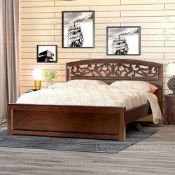 Khalid wood Brown Antique wooden dobule bed, For Home, Model Name/Number: 00082