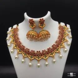 High Gold Plated Copper Jewellery Set - NK 2260