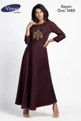 Rayon Gown Style Kurti with Handwork