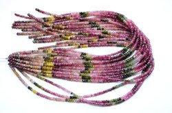 15 Inch 3.5-4mm 100% Natural Multi Tourmaline Faceted Rondelle Beads